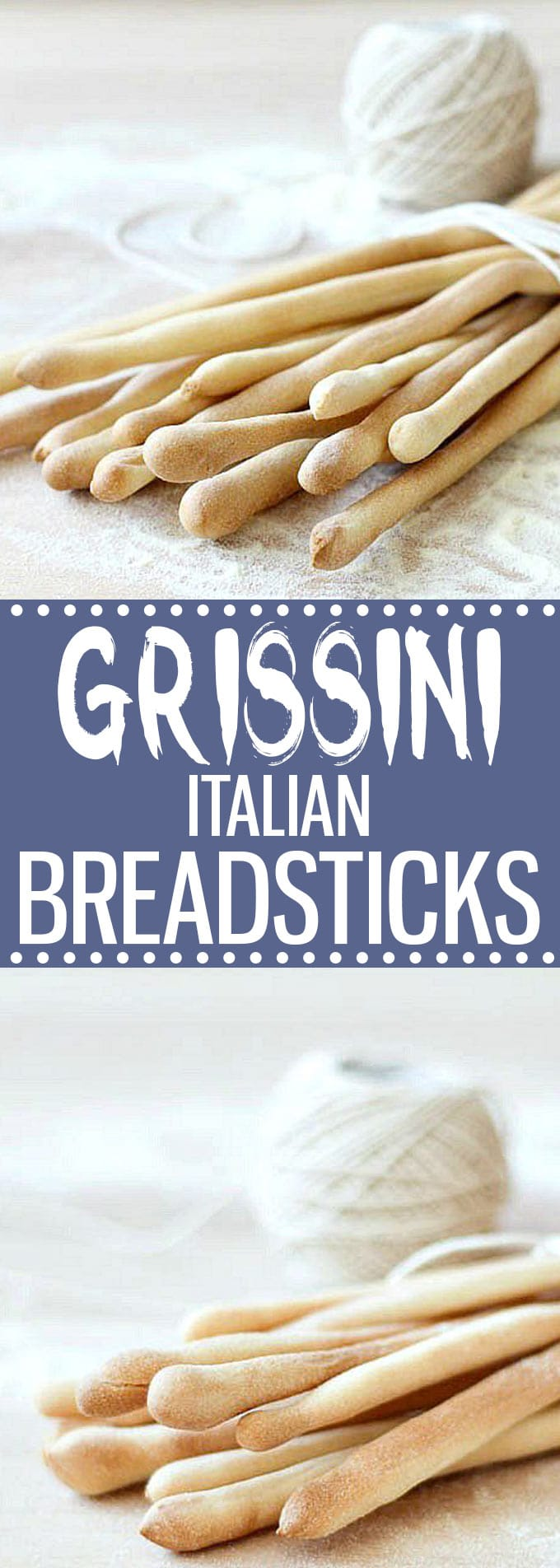 These grissini (Italian breadsticks) will not last long at your dinner table. Serve them with appetizers, dips or as a snack. Step by step tutorial. #italianfood #italianrecipes #breadsticks #grissini #easyrecipe