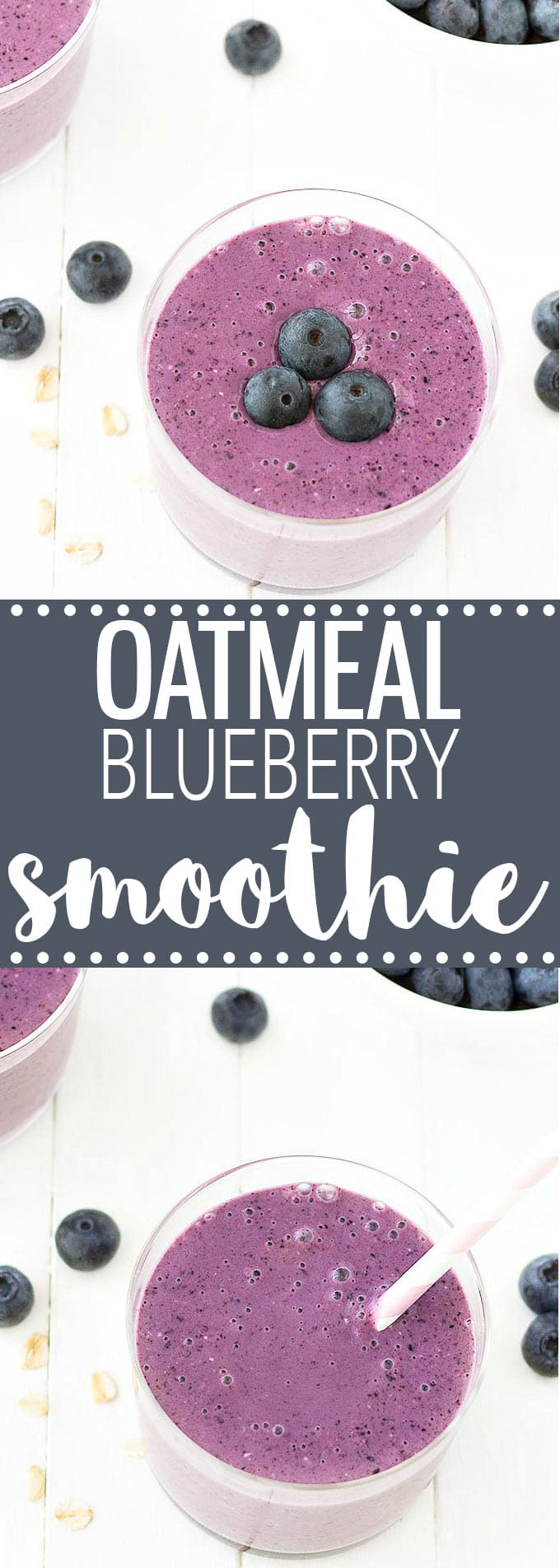 Creamy Oatmeal Blueberry Smoothie - A healthy breakfast or snack with only 4 ingredients: Greek yogurt, banana, oats, and blueberries.