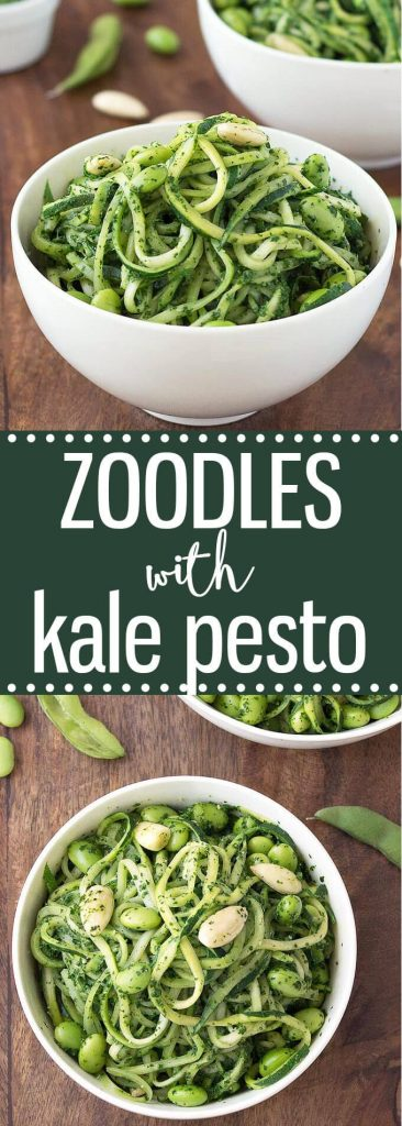 zoodles with kale pesto and edamame