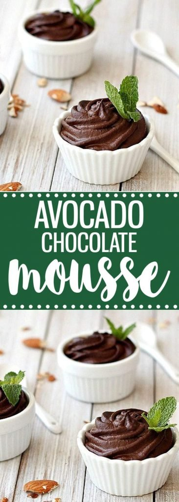 3 white ramekins with avocado chocolate mousse garnished with fresh mint