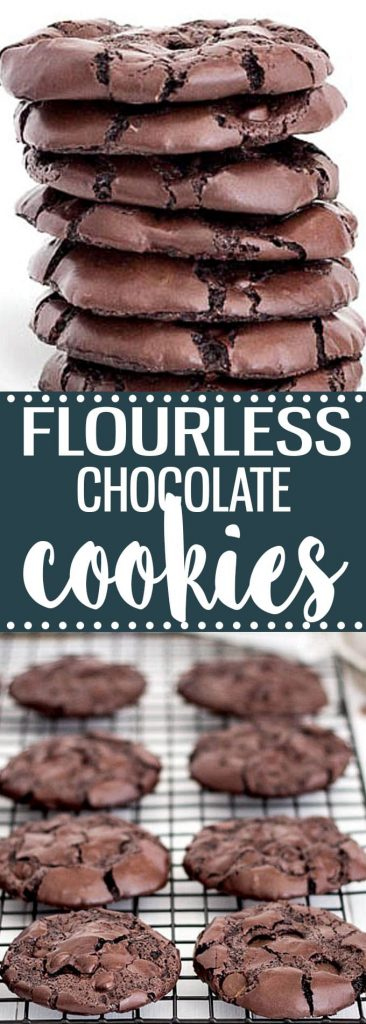 Rich, chewy, fudgy, flourless chocolate cookies. This easy recipe has no butter and no oil. Gluten-free