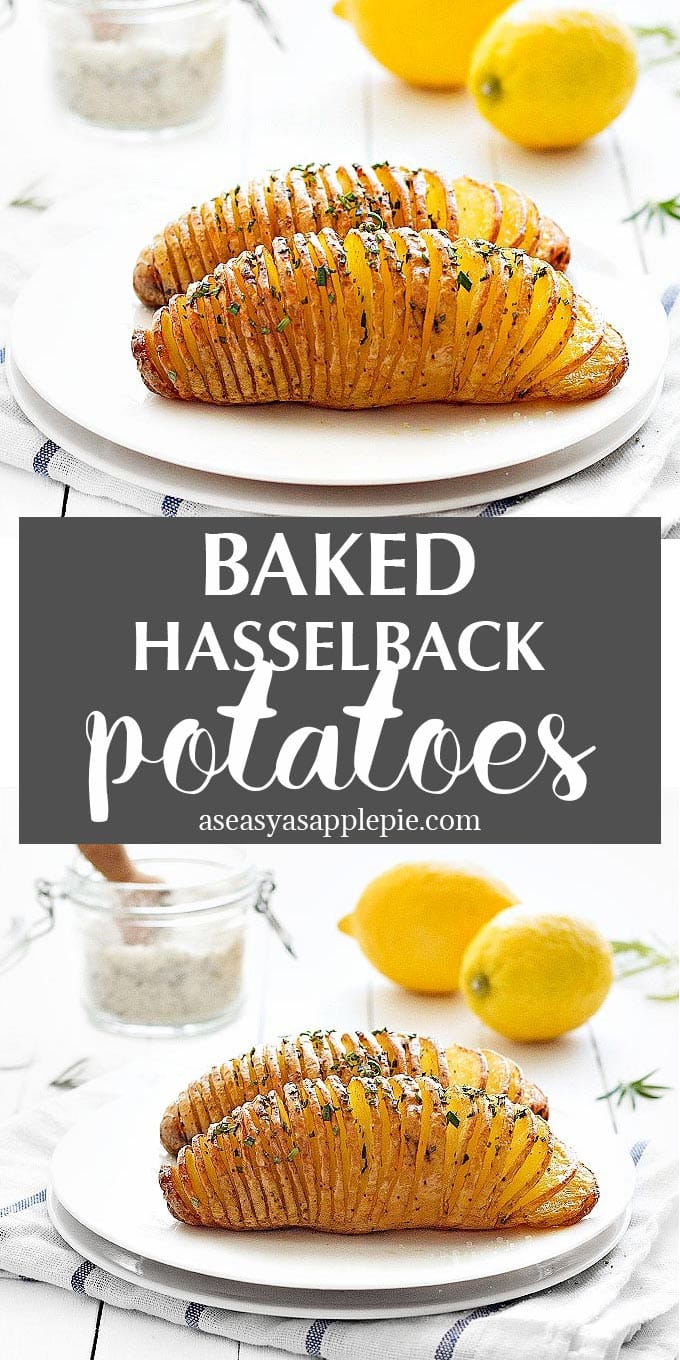 If you're looking for a striking side dish that will impress your guests, try these Baked Hasselback Potatoes. #vegan #vegetarian #sidedish #hasselback #potatoes #easyrecipe | aseasyasapplepie.com
