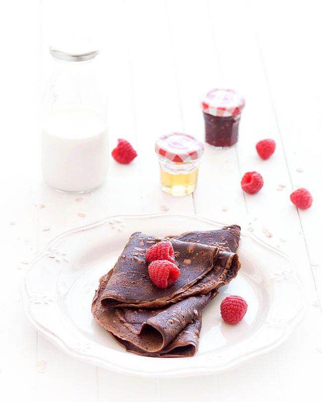 eggless chocolate oat crepes