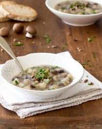 potato, mushroom and chestnut soup