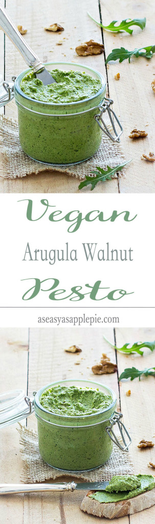 This vegan arugula walnut pesto is thick, creamy and rich in flavor. As there is no cheese, it's vegan and healthier than the regular pesto.