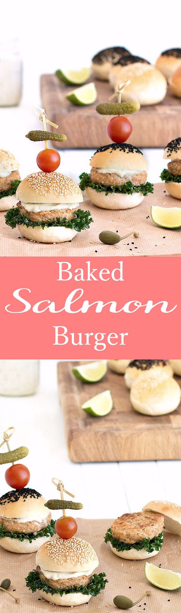 Baked salmon burgers are healthy, tasty, and very filling. They are very simple and quick to make, in 25 minutes your dinner is ready!
