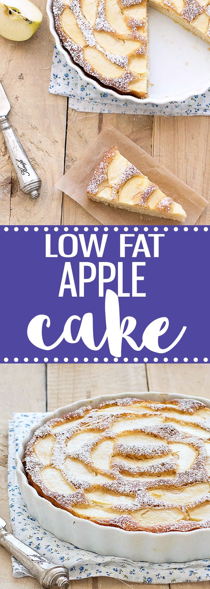 This low fat apple cake is super moist, flavorful and delicious! Plus, it's low in calories, it has no butter or oil.... that means you can enjoy more of it! #lowfat #applecake #cake #dessert #nobutter #italianfood #italianrecipes #easyrecipes #apples