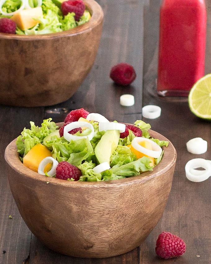 avocado mango raspberry salad