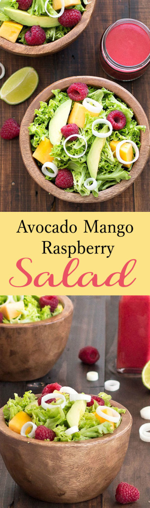 This avocado mango raspberry salad is light, healthy, fresh, and delicious. It's a fantastic mix of textures, colors and flavors.