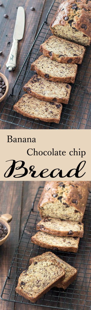 This easy banana chocolate chip bread is dense, moist and just sweet enough. It's a very simple recipe, you don't need a fancy mixer.