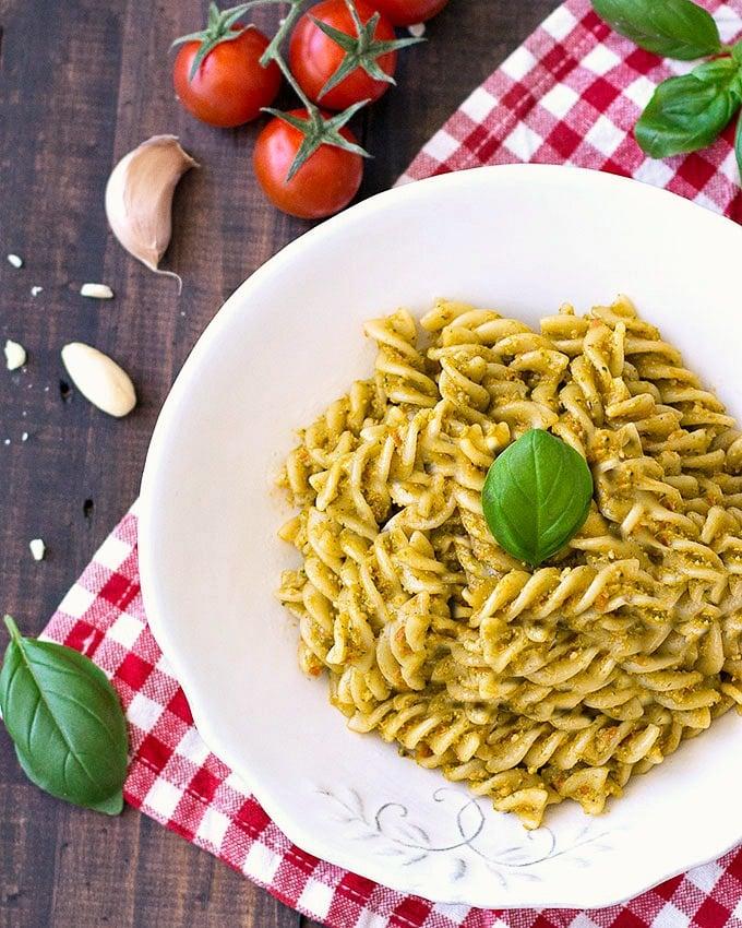 fusilli with pesto trapanese (almond-tomato pesto)