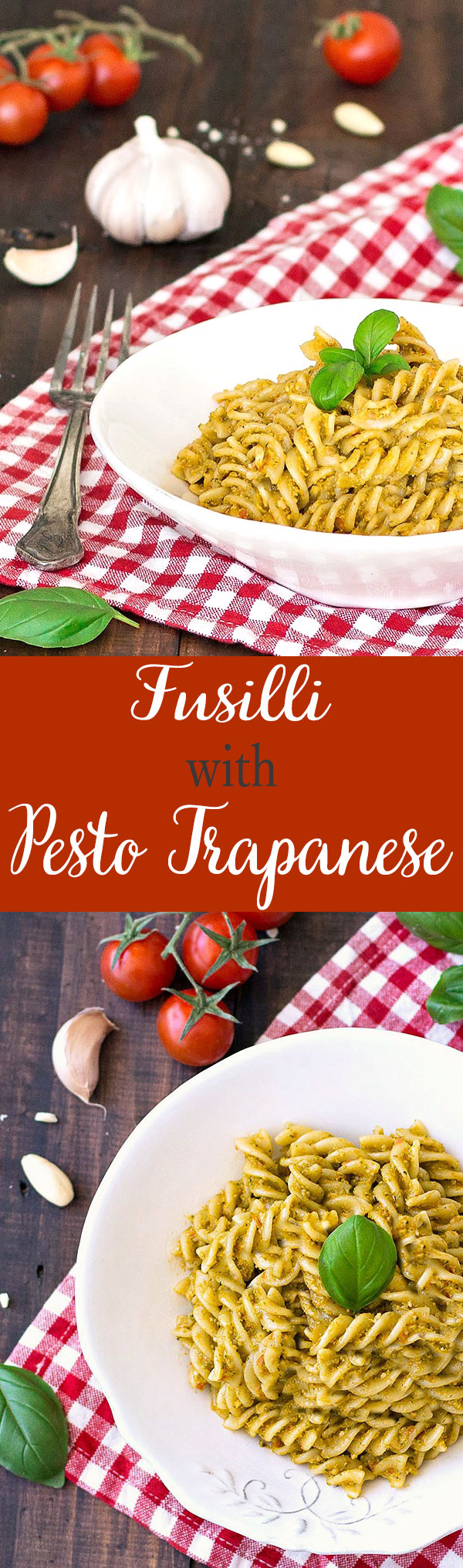Fusilli with pesto trapanese is a simple yet satisfying pasta tossed in a pesto typical from Sicily. It's super quick to prepare!