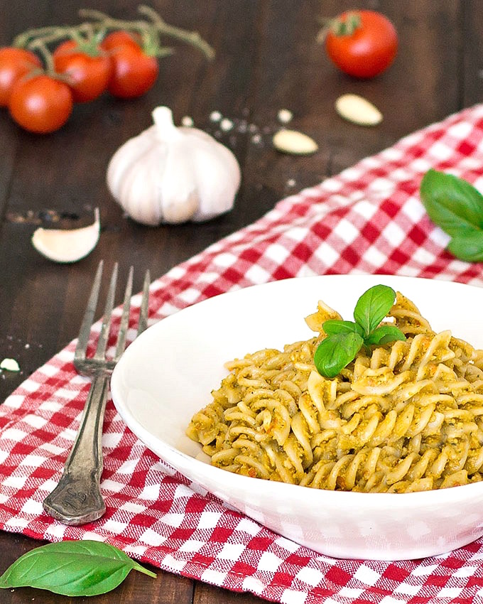 fusilli with pesto trapanese (almond-tomato pesto)