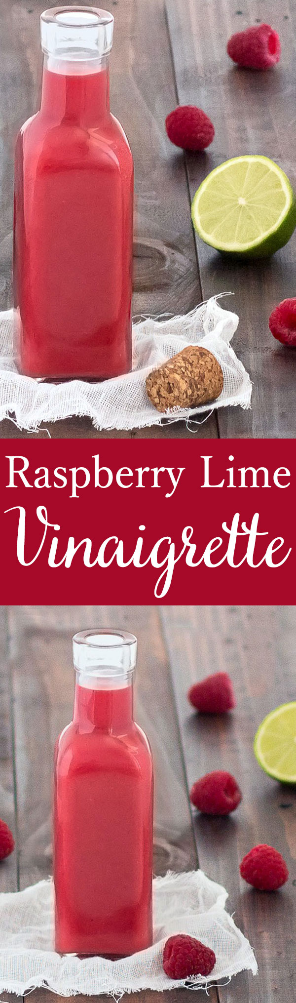 This raspberry lime vinaigrette is fruity, tangy and sweet. Enjoy it drizzled on salads, meats, fish or grilled vegetables.