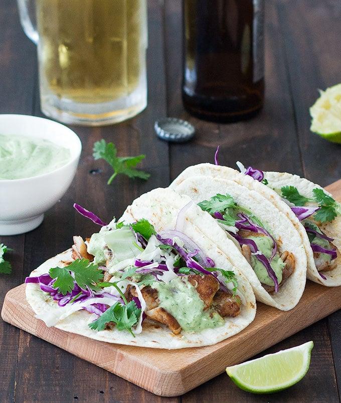 blackened fish tacos with avocado sauce