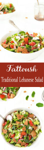 Fattoush, a traditional Lebanese salad, is a delicious combination of fresh veggies, a bright citrus dressing, herbs and toasted pita bread.