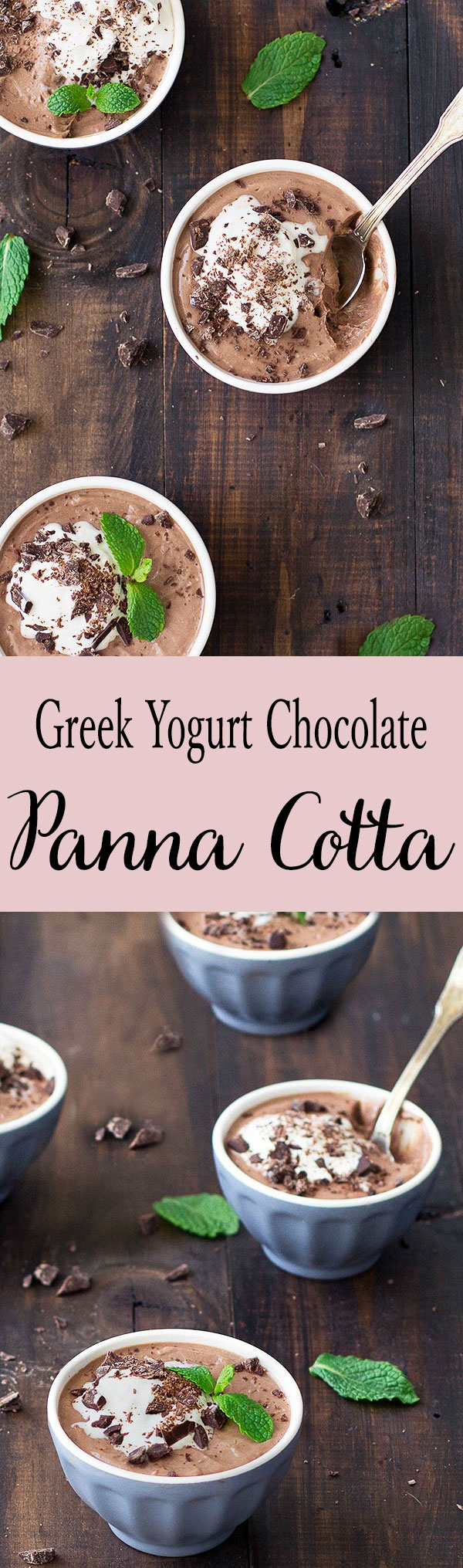 Greek Yogurt Chocolate Panna Cotta is silky smooth, rich and delicious! This dessert has only 205 calories per serving and it's packed with protein!