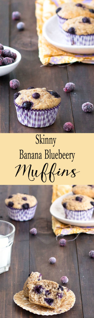 These skinny banana blueberry muffins are great for breakfast or as a snack. No oil, no butter, no refined sugar and only 159 calories