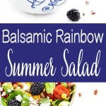 This balsamic rainbow summer salad is perfect when it starts to get hot outside. It's fresh, crunchy, tart, sweet, and savory.