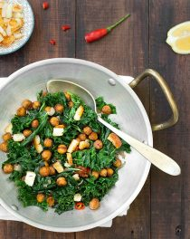 braised kale with roasted chickpeas