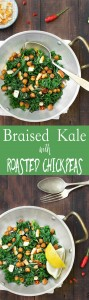 This braised kale with roasted chickpeas is a simple, yet tasty side dish. It doesn't take more than 30 minutes to prepare