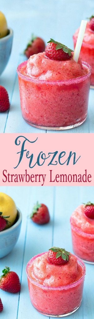 This frozen strawberry lemonade is so easy to make, full of fresh strawberries and tart lemons. Not too sour or too sweet, just perfect!