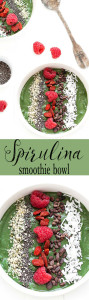 This green spirulina smoothie bowl is a simple smoothie transformed into a nutritious breakfast or snack. The toppings options are endless