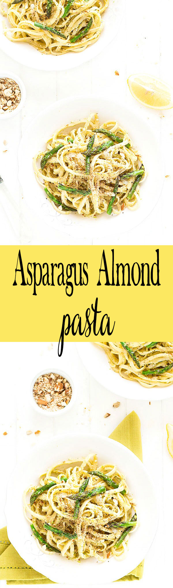 This asparagus almond pasta is simple, requiring just six ingredients and 15 minutes! Perfect for a quick and tasty weeknight meal.