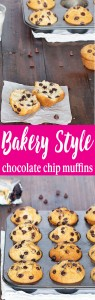 Enjoy these bakery-style chocolate chip muffins with your morning coffee and/or as an afternoon snack. They're soft, fluffy, and packed with chocolate chips! The best chocolate chip muffins!