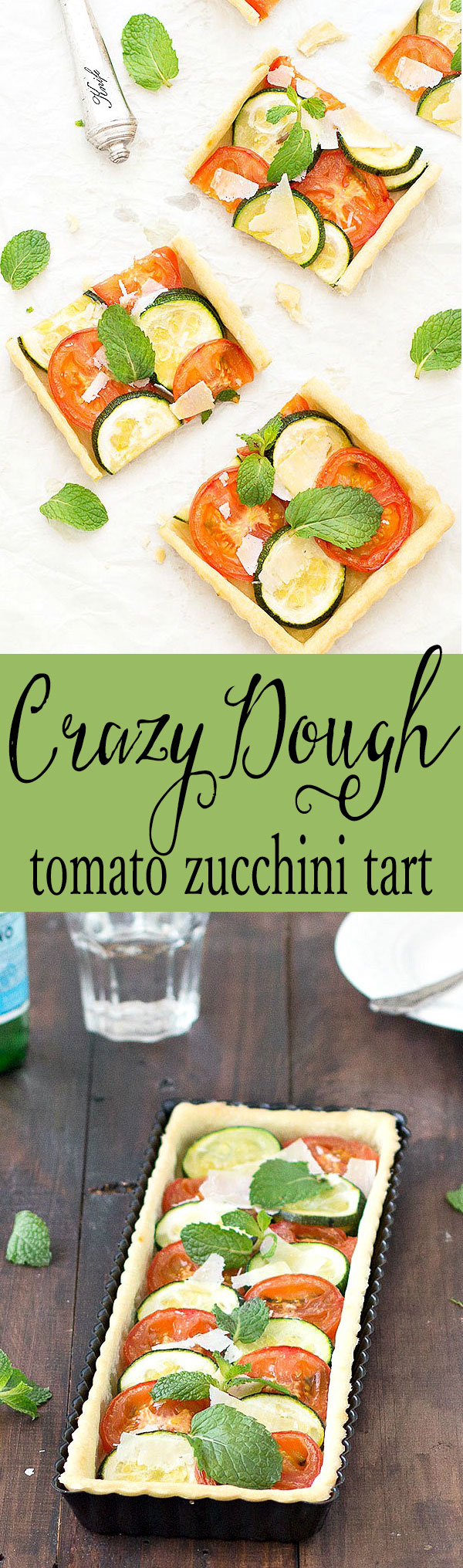 Tomato zucchini tart made with crazy dough. Only 4 ingredients to made the dough, no butter, no eggs. Suitable for vegetarian and vegans.