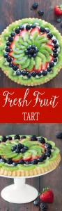 This fresh fruit tart is a colorful and easy make ahead dessert. A sponge shell is filled with diplomat cream and topped with fresh fruit.