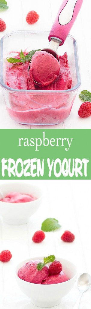 Only 3 ingredients needed to create this amazing healthy raspberry frozen yogurt. It's the perfect no-guilt dessert for summer!