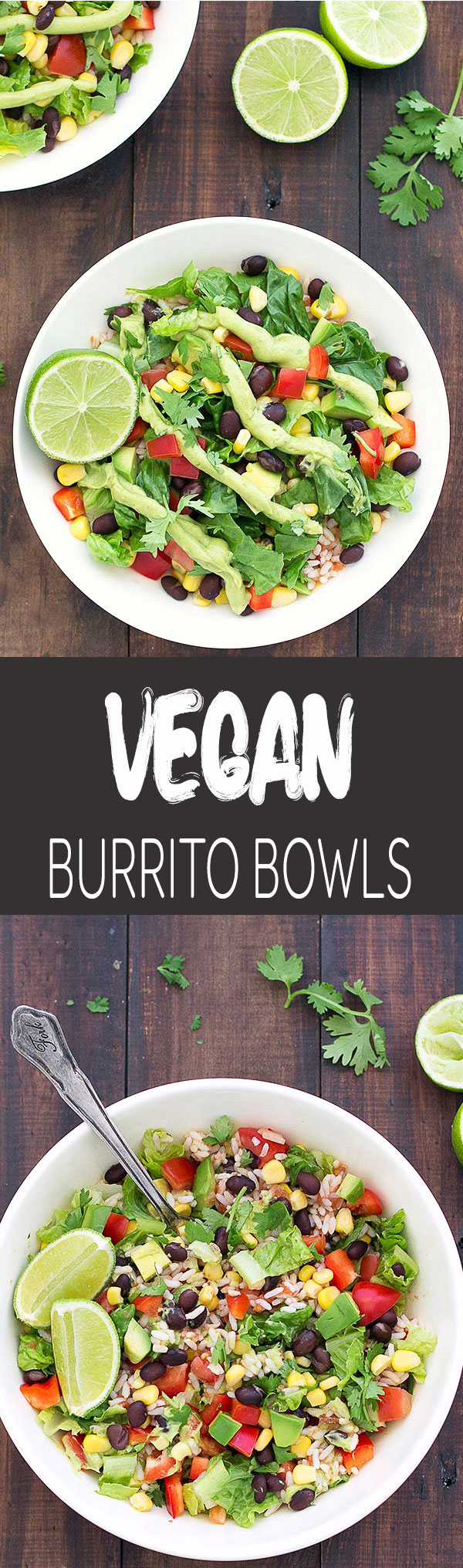 Vegan burrito salad bowls are super colorful, really easy to put together and packed with delicious Mexican flavor! Ready in 20 minutes