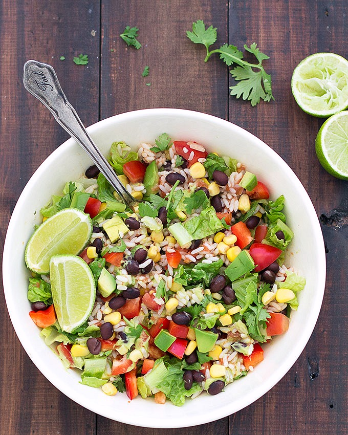 Vegan burrito salad bowls are super colorful, really easy to put ...