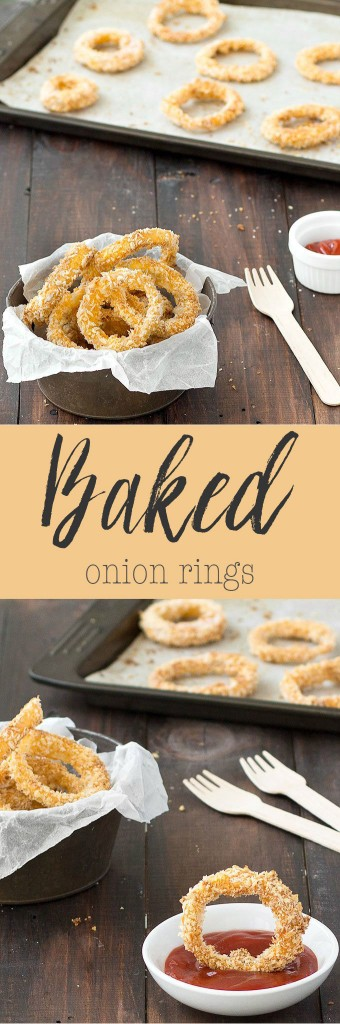 Crispy baked onion rings: an healthier alternative to fried onion rings. These onion rings are crispy, flavorful, and fast to whip up.