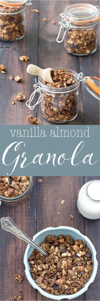 Homemade Vanilla Almond Granola- amazingly delicious and very simple to make. Eat it for breakfast or as a snack. Options to make it vegan