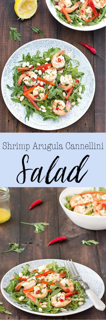 This spicy shrimp arugula cannellini salad with lemon chili dressing is super tasty, satisfying and filling. It's easy and quick to prepare