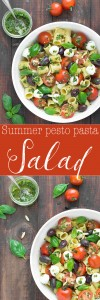Summer Pesto Pasta Salad: an easy pasta salad, filled with Mediterranean flavors and ready in under 15 minutes. A real crowd pleaser!