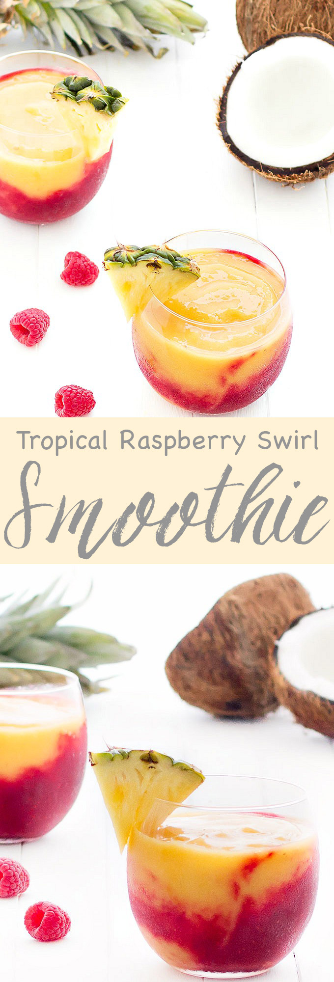 A creamy, fresh and delicious tropical raspberry swirl smoothie, great for breakfast on-the-go or as a pre-workout snack. Vegan, gluten-free