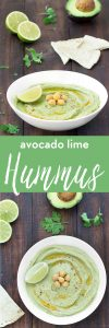 This avocado lime hummus is creamy, nutritious, flavorful, super simple to whip up and incredibly yummy! Serve it with tortilla chips, pita chips, whole wheat pita bread, crackers, vegetables or use it as a spread on sandwiches.