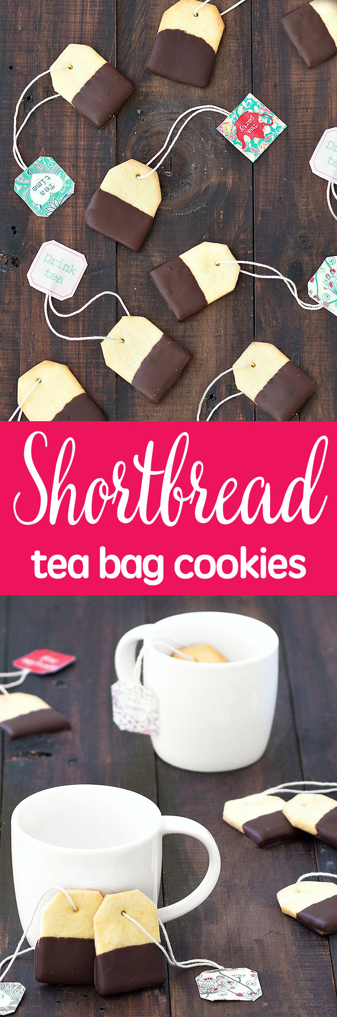 Impress your friends the next time you have them over for tea with these chocolate-dipped shortbread tea bag cookies. Easy recipe + step by step tutorial. #cookies #baking #chocolate #giftideas