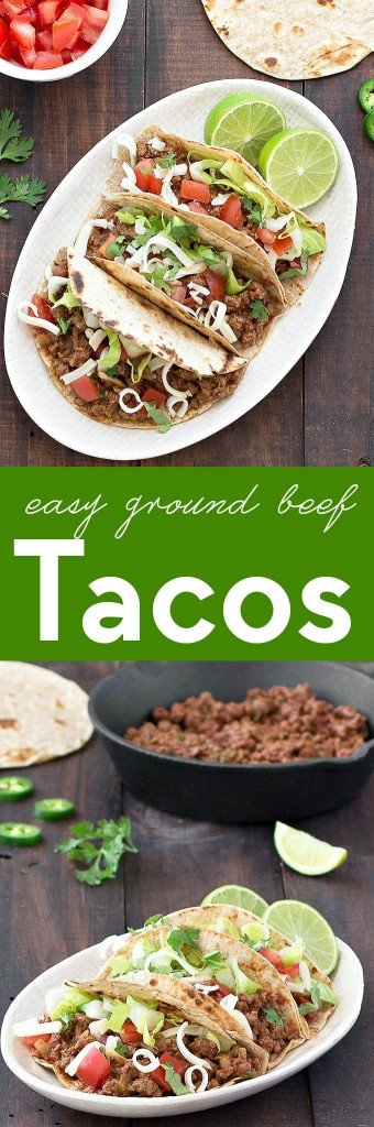 These Easy Ground Beef Tacos are packed with flavor, delicious, and ready in less than 30 minutes. A quick weeknight dinner the whole family will love!