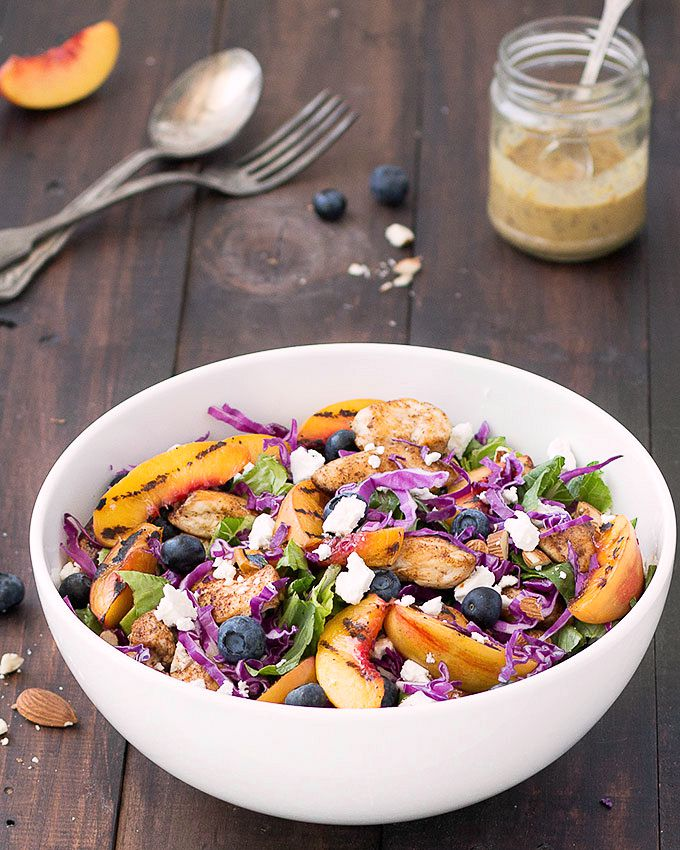 This grilled nectarine and chicken salad with honey mustard dressing is colorful, fresh, and full of flavor. It has an amazing combination of salty, sweet, savory, and a variety of textures.