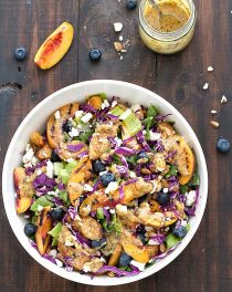 Grilled nectarine and chicken salad - a colorful, fresh, and full of flavor salad topped with a creamy and homemade honey mustard dressing