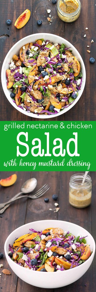 This grilled nectarine and chicken salad with honey mustard dressing is colorful, fresh, and full of flavor. It has an amazing combination of salty, sweet, savory, and a Grilled nectarine and chicken salad - a colorful, fresh, and full of flavor salad topped with a creamy and homemade honey mustard dressing