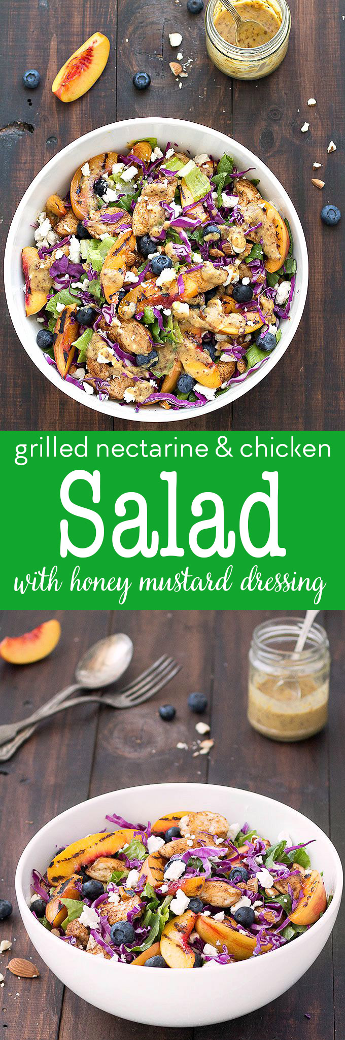 Grilled nectarine and chicken salad - a colorful, fresh, and full of flavor summer salad topped with a creamy and homemade honey mustard dressing