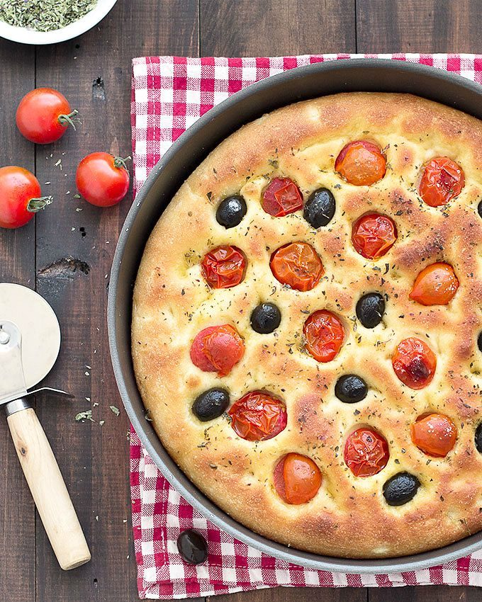 potato focaccia with olives and cherry tomatoes