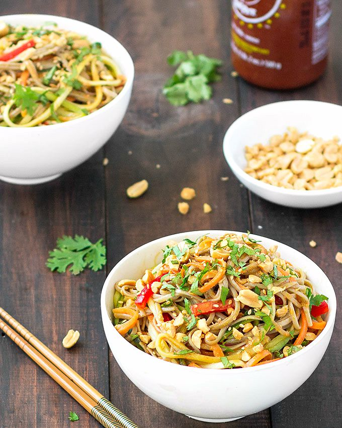 Spicy Peanut Soba Noodles - Easy to throw together, bursting with Asian flavors and ready in 20 minutes or less. Gluten free and vegan
