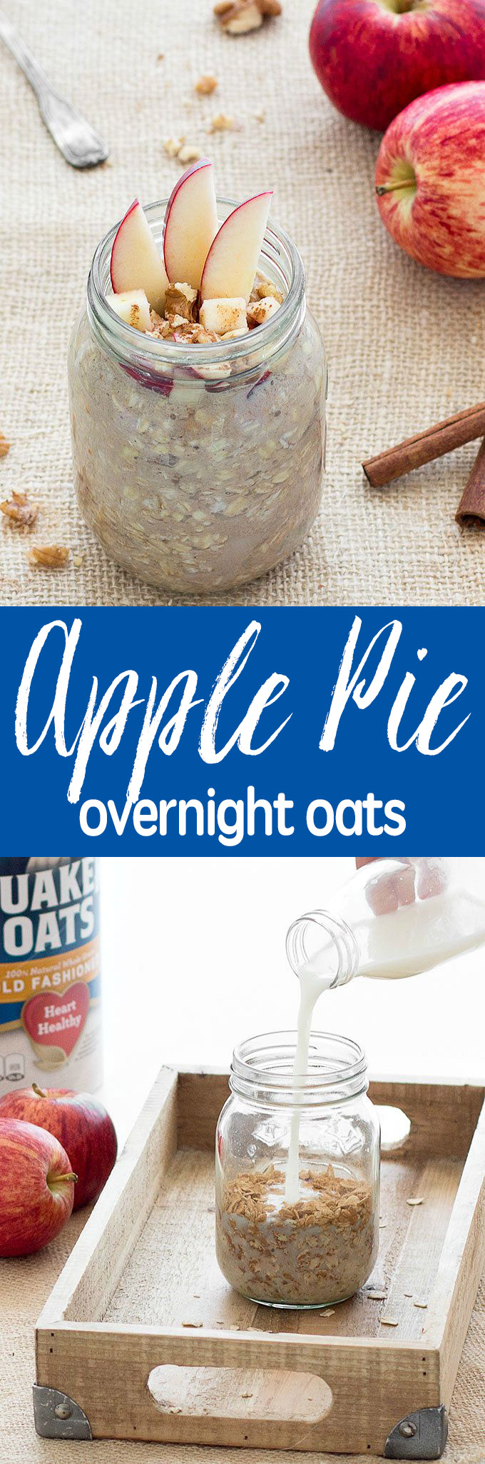 Apple Pie Overnight Oats - a breakfast that can be made ahead of time, comes together in less than 3 minutes and tastes just like a dessert
