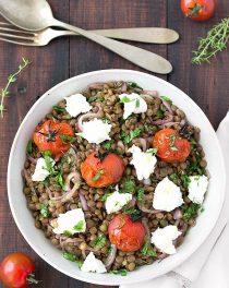 mediterranean warm lentil salad
